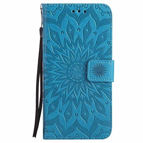 Custodia Galaxy S6 Edge Plus, Dfly Premium PU Goffratura Mandala Design Pelle Chiusura Magnetica Protettiva Portafoglio Custodia Super Sottile Flip Cover per Samsung Galaxy S6 Edge Plus, Blu