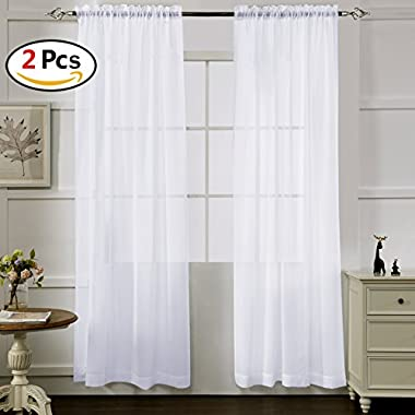 White Sheer Curtains 84 Inches Long, Rod Pocket Sheer Drapes for Living room, Bedroom, 2 Panels, 52 x84 , Semi Crinkle Voile Window Treatments for Yard, Patio, Villa, Parlor, by Mystic Home.