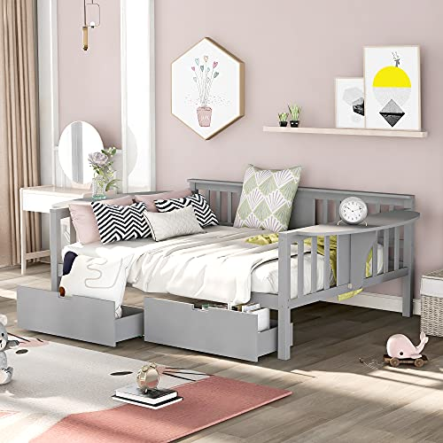 Daybed with Two Drawers, Wood Full Size Sofa Bed Frame with Small Table, Storage Daybed for Bedroom, Living Room (Grey,Full with Drawers)