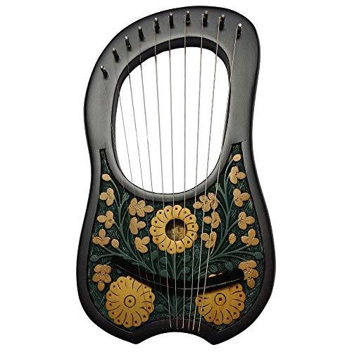 HS Lyre Arpa 10 Instrumento de cuerda de metal Shesham Wood/Lyra Arpa/Arpa (diseño de flores negras)