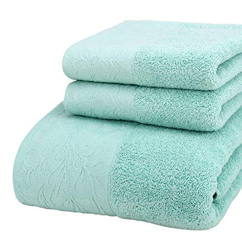 Charm4you 100% Orgánico Algodón Toallas de Baño,Toalla de baño Jacquard de algodón Satinado Peinado ecológico Juego de 3 Piezas 1 Toalla de baño 2 Toalla-Verde Menta
