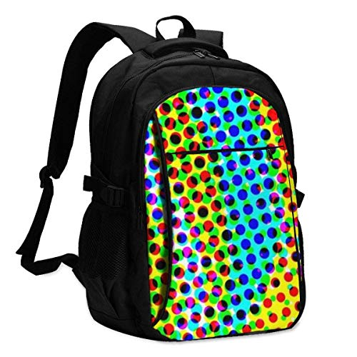 IUBBKI Psychedelic Colors Blue, Yellow, Green, Orange, Pink Office & School Supplies with USB Data Cable and Music Jack Laptop Bags Computer Notebook 18.1X13.3 inch