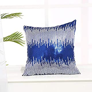 Eternal Beauty Sequin Pillow Case, Decorative Glitter Pillow Cover for Home Decor Throw Cushion Cover, 18x18 inches, Navy ...