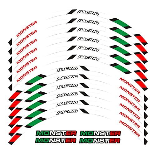 bazutiwns Pegatina de la Rueda de la Motocicleta Raya Raya RIZ REFLEADA Compatible con Ducati Monster 695 696 796 1100 1100s HSLL (Color : 2)
