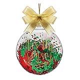 Bola de cristal adorno de Navidad con purpurina relleno con tis la temporada por Slant