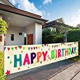 VUDECO Happy Birthday Yard Sign Happy Birthday Yard Banner Colorful Outdoor Decorations - Large 118' x 19.7' Birthday Party Decorations Yard Sign - Birthday Party Outdoor & Indoor Hanging Banner