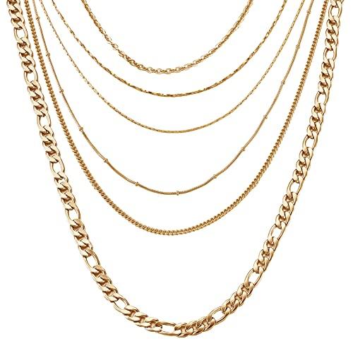 Craftday 6 piezas de 45,9 cm 304 de acero inoxidable 6 estilos Hip Hop Rolo Cable cadena de metal con cierres de langosta para hombres y mujeres, fabricación de joyas de moda (chapado en oro)