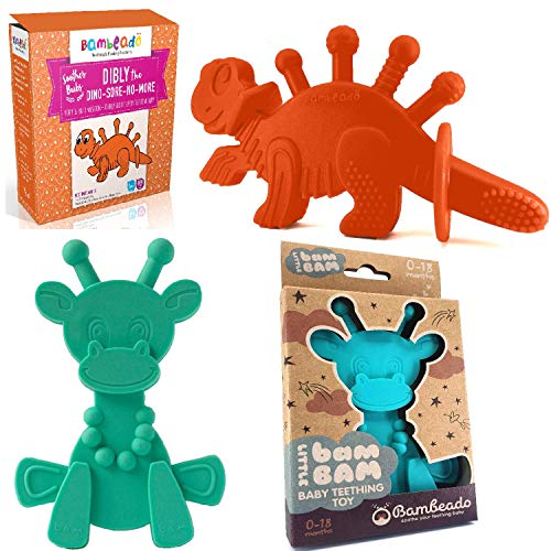 Buy Super Saver - Turquoise Little Bambam Baby Teether Combo Plus a Orange Dibly The Dino-Sore-No-Mo...