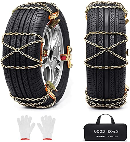 Snow Chains, 8 Pack Tire Chains for Pickup Trucks Car SUV Heavy Duty Chain for Tire Width 205-235mm - 215 225 235 245 255 265 405060 and More