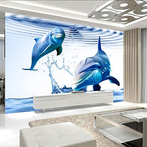 Dalxsh 3D Wallpaper Kinderzimmer Schöne Dolphins In Ozean Benutzerdefinierte Foto Mural Tapeten Wohnzimmer Tv Hintergrund Schlafzimmer Halle-250X175Cm