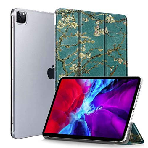 Neepanda Case for iPad Pro 12.9 4th Gen 2020, [Support Apple Pencil Charging] Slim Lightweight Smart Tri-Fold Stand Hard PC Transparent Back Cover for iPad Pro 12.9 4th Gen/ 3rd Gen,Blossom