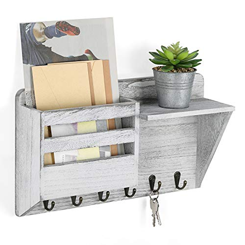 Wall Mail Holder Key Holder Wall Mounted Mail Sorter with 6 Key Hanging Hooks, Decorative Farmhouse Mail Organizer Wooden Storage Shelf for Entryway Office Cabinet