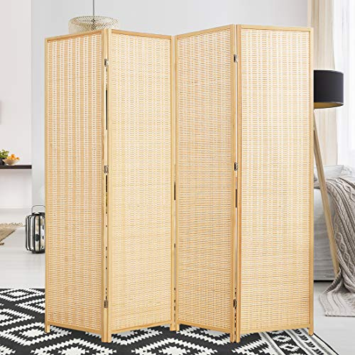 Corelax Room Divider Privacy Screen with Natural Bamboo,4 Panel Folding Privacy Screens,Freestanding Room Divider-Beige