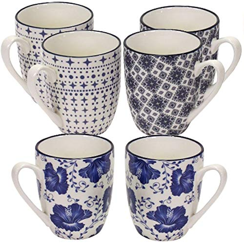 MAIKAI 6er Set Tassen Kaffeebecher Delph Blau Weiß FM 330 ml Kaffee Becher Landhaus Hochwertig Stilvoll