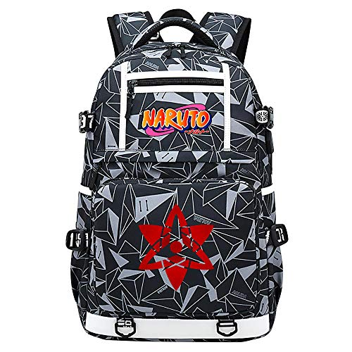 BOBD-DW Naruto Laptop Backpack with USB Charging Port Business Notebook Anti-Theft Rucksacktablets Daypack Color Word USB Anime Backpack 48X30X15CM