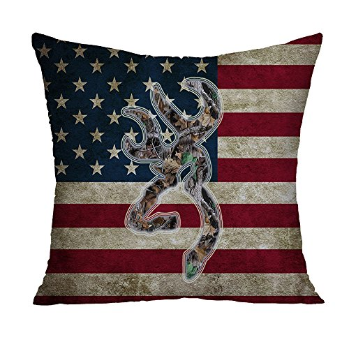 Browning Camo USA America Flag Decorative Polyester Square Throw Pillow Case Cushion Cover Throw Pillow Shell Pillowcase 20 x 20 Inch