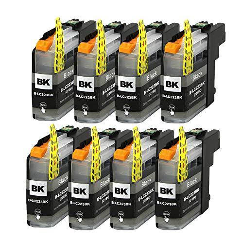 LC223 LC221 Cartucho De Tinta, Reemplazo De Cartuchos De Impresora De Inyección De Tinta De Alto Rendimiento Para Brother MFC-J4420DW 4620 DCP-J4120 Compatible (Paqu black x 8