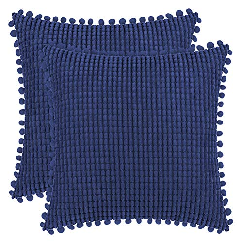 DEZENE 40x40cm Fundas de Almohada Decorativas con Pompones - Azul Marino Cuadrado Paquete de 2 Fundas de Cojín de Granos de Maíz Grande a Rayas de Pana para Sofá de Granja