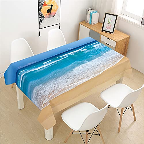 XXDD Beautiful beach view tablecloth picnic table rectangular dining table cover Nordic style home table decoration tablecloth A9 135X160CM