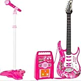 iMeshbean Electric Guitar Kit Toy Play Set with Microphone, Wireless Amp, AUX. Educative Beginner Musical Instrument Set for All Children (Pink)