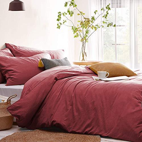 Lanqinglv Bettwäsche 135x200cm Altrosa Rose Rosa Weiche Mikrofaser Elegant Uni Bettbezüge mit Reißverschluss und Kissenbezüge 80 x 80 cm