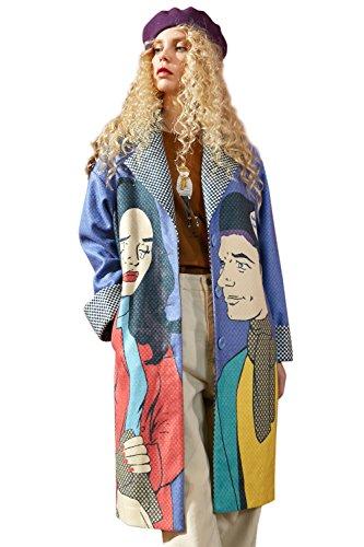 Elf Sack Damen Übergangs Jacke Wollmantel Pop Art Print Revers Wintermantel Langmäntel Trenchcoat Parka Wool Coat Blau M