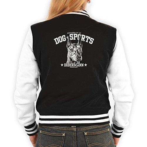 Goodman Design Dobermann Motiv Damen Jacke - Hunderassen College Jacke : Dobermann - Hundemotiv Jacke Frauen Farbe: schwarz Gr: S