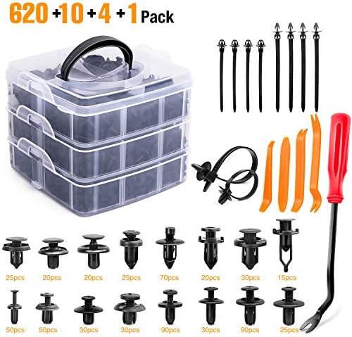 GOOACC 635Pcs Car Push Retainer Clips Auto Fasteners Assortment 16 Most Popular Sizes Nylon product image
