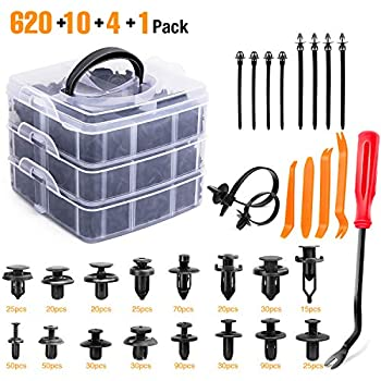GOOACC 635Pcs Car Push Retainer Clips & Auto Fasteners Assortment -16 Most Popular Sizes Nylon Bumper Fender Rivets with 10 Cable Ties and Fasteners Remover for Toyota GM Ford Honda Acura Chrysler