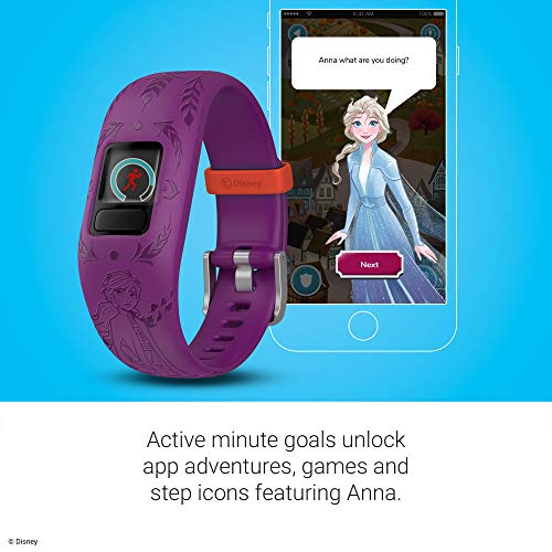 Garmin vívofit Jr 2, Kids Fitness/Activity Tracker, 1-Year Battery Life, Adjustable Band, Disney Frozen 2, Anna, Purple 3