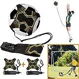 2 Pcs Football Kick Trainer de coup de pied équipement d'entraîneur de football bande élastique aide à la formation de football pour enfants et adultes, appel mains libres, avec ceinture élastique
