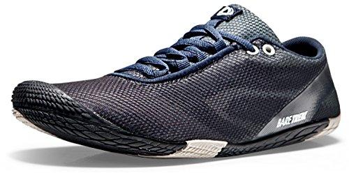 TSLA CLSL Men's Trail Running Minimalist Barefoot Shoe, Zero Drop(bk30) - Black & Grey, 8