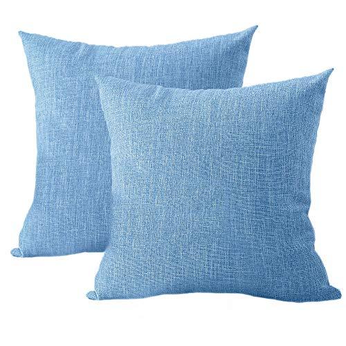 Ufamiluk 2er Set Kissenbezüge 45x45cm Leinen Baumwolle Kissen Einfarbig Dekorative Kissenhülle Kopfkissen Für Sofa Blau