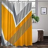 Duschvorhang aus Stoff mit 12 Haken, modern, cool, trendig, urban, einfach, geometrischer Kunstdruck, dekorativer Badezimmervorhang, maschinenwaschbar, 183 x 183 cm