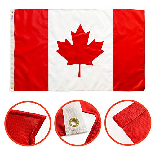 Winbee Embroidered Canadian Flag 3x5 Ft - Exclusive Strongest 300D Nylon, Sewn Stripes, Brass Grommets and UV Protection, Maple Leaf and Individually Sewn Panels,Premium Canada Flag