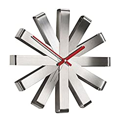 Wall Clocks Battery Operated Modern Ribbon, Stainless Steel Modern Simple Watch Living Room Board Room Creativity Wall Surface Decoration Clock with Indoor Temperature