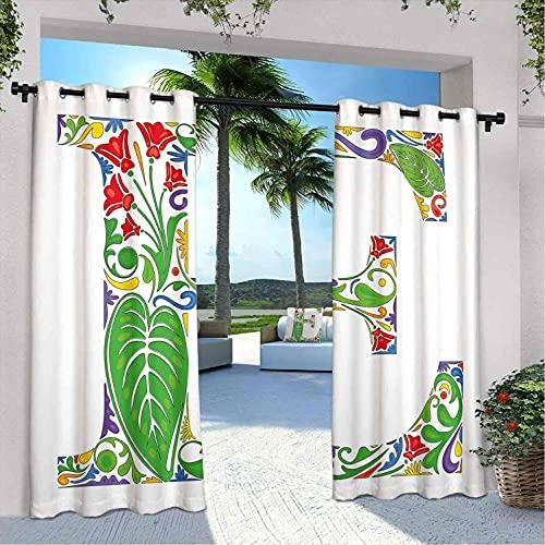 """Cortinas de exterior con letra E para patio, impermeables, inspiradas en la naturaleza, con texto en inglés """"Carta E, para dormitorio, sala de estar, porche, pérgola, 120 x 108 pulgadas, multicolor"""