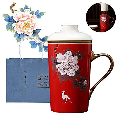 Asy Taza de té de cerámica (300ML) con infusor y Tapa Tazas con Filtro, Taza de Cerámica Tea Forté Taza de Té con Infusor y Tapa, Preparador de Té de Hojas Sueltas,Rojo