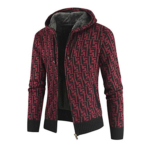 Mens Casual Hoodie Zip up Sweatshirt Jumper Jacket Fleece Cardigan Mens Full Zip Hooded Jacket Coat Top Slim Fit Cardigan Knitted Cardigan Thick Sweater Full Zip Stand Collar Warm Lined Winter Coat