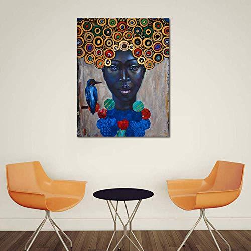 Kunstdruck Leinwand Gemälde Bunten Afrikanerin Porträt Gemälde Schön Wand Dekor Malerei Einzigartige Inkjet Kunst Bild,Noframe,50x70cm