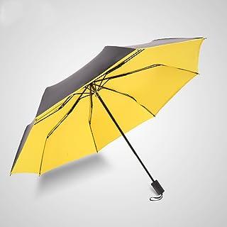 Sunny Umbrella Umbrellas Vinyl Sun Umbrella Folding Umbrella Dual Use Three Fold Umbrella Sun Umbrella DWWSP (Color : Yellow)