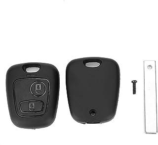 OKBY Schlüsselanhänger  2 Taste Auto Fernschlüsselgehäuse mit Nut passend für Peugeot 107 207 307 407