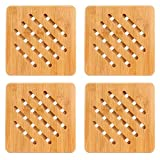 """Weikai Bamboo Trivet Mat Set, Heavy Duty Hot Pot Holder Pads Coasters, Perfect for Modern Home Kitchen Decor, Set of 4, 7"""" Square"""