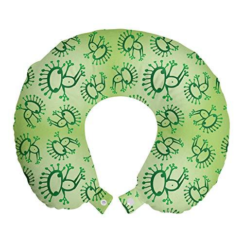 ABAKUHAUS Verde Cojín de Viaje para Soporte de Cuello, Las Ranas exóticas de Estilo de Bosquejo, Cómoda y Práctica Funda Removible Lavable, 30x30 cm, Verde