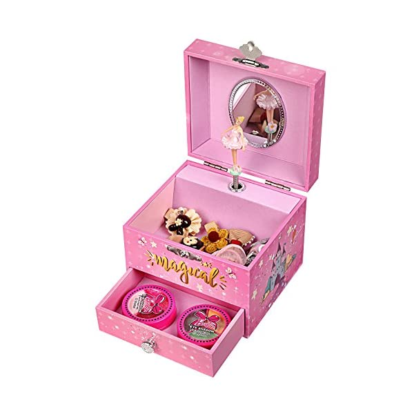 "SONGMICS Musical Jewelry Box, 4.7""L x 4.3""W x 3.9""H, Pink 9"