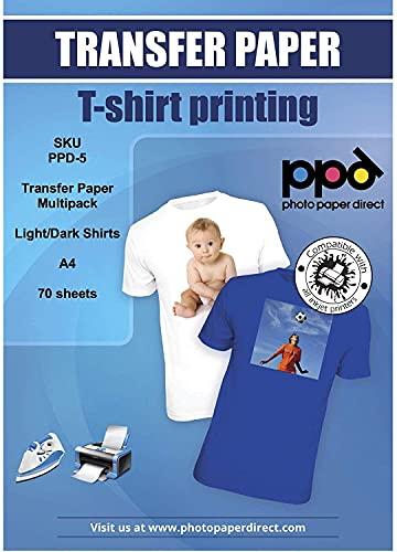 PPD Inkjet - A4 x 70 Hojas de Papel de Transferencia Térmica Premium para Camisetas y Tejidos Mixtos - 50 hh. Telas Claras y 20 hh. Telas Oscuras - Para Impresión de Inyección de Tinta - PPD-5-70