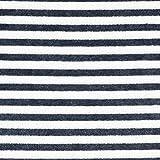 Nicki Stoff Streifen – marineblau/weiss — Meterware ab
