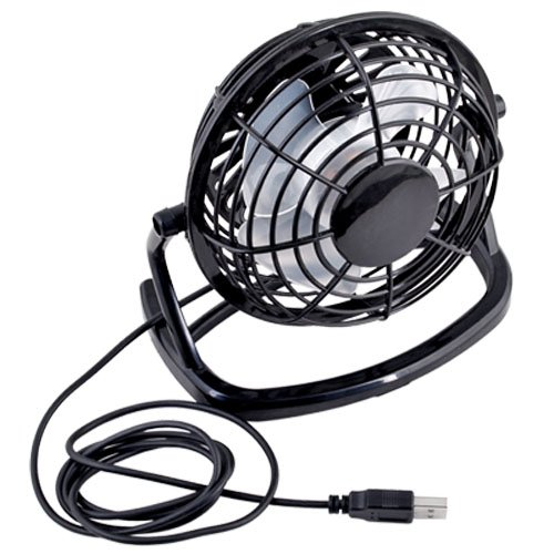 Lgking supply - Mini ventilatore regolabile e portatile da tavolo, ideale per raffreddare pc portatile, con porta USB, colore: Nero