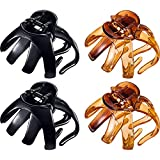 4 Pieces Large Grip Octopus Clip Spider Hair Claw Octopus Jaw Hair Claw Clips for Thick Hair (8.5 cm, Black and Brown)