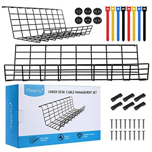 Magicfly Set de 2 Organizadores de Cables para Escritorio con 6 Soportes y 8 Bridas, 43,2 cm de Largo, Bandeja Organizadora de Cables Debajo de la Mesa, Negro